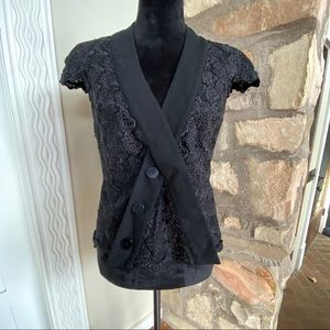 Bebe black lace blouse with cap sleeve